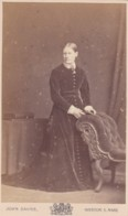 CDV PHOTO - LADY STANDING BY CHAIR. LONG DRESS, WESTON SUPER MARE STUDIO - Photographs