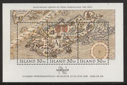 Iceland 1991 Stamps Day,  Stamp Exhibition Nordia '91, Map Mi Bloc 12, MNH(**) - 1944-... Republik