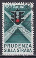 Repubblica Italiana, 1957 - Educazione Stradale, I° Tipo - Fil. S2 - Pos. D25 - Nr.391 Usato° - 6. 1946-.. Repubblica