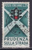 Repubblica Italiana, 1957 - Educazione Stradale, II° Tipo - Fil. S2 - Pos. S 25° - Nr.391 Usato° - 6. 1946-.. Repubblica