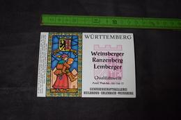 Württemberg Weinsberger Ranzenberg Lemberger Couples Vitraux Allemagne Germany - Parejas