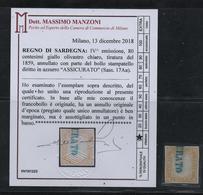 IV: 80 Cent. Giallo Olivastro Chiaro Ann. ASSICURATO Azzurro Cert Manzoni ((€ 2.600)) - Sardinia