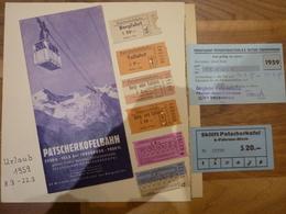 Prospekt , Ermäßigungskarte Und 6 Lift-karten - Fahrkarten IVB Der Patscherkofelbahn Innsbruck Igls Aus 1959 - Reiseprospekte