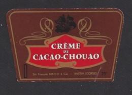 Etiquette Créme De Cacao Chouao  -  Sté François Mattei  à  Bastia Corse (20) - Etiquettes