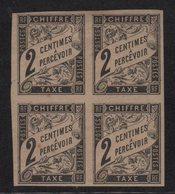 Colonies Generales - Taxe N°2 - Bloc De 4 - Neufs Avec Charnieres */** - Cote +16€ - Postage Due