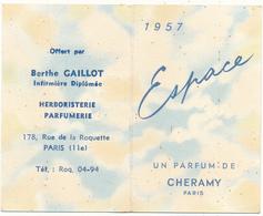 Carte Double Parfumée - CHERAMY, Espace - Calendrier 1957 - Perfume Cards