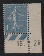 N°205 - 1f Semeuse Lignee - Coin Daté 16-7-1926 - ** Neuf Sans Charniere - Cote +14.50€ - 1903-60 Semeuse Lignée