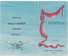 Carte Double Parfumée - CHERAMY, Festival - Calendrier 1960 - Perfume Cards