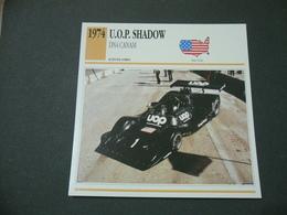 CARTOLINA CARD SCHEDA TECNICA AUTO   U.O.P. SHADOW DN4 CANAM - Altre Collezioni
