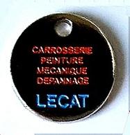 Jeton De Caddie  Argenté  Ville,  Automobile  Carrosserie  LECAT  24 H Sur 24  LE  CREUSOT  ( 71 ) Recto  Verso - Munten Van Winkelkarretjes
