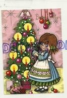 Bonne Année. Petite Fille Qui Décore Un Sapin De Noël, Bougies. 1984 - Nouvel An