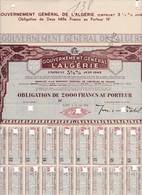 Th4  GOUVERNEMENT : ALGERIE - Obligation De 2000 Frs1942     (23) - Shareholdings
