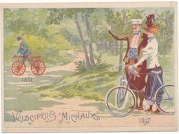 """Chromo Publicité, 1897 - Vélocipèdes """"MICHAUX"""" , Paris -  Cycles, Véhicules Automobiles - Autres"""