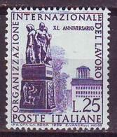Repubblica Italiana, 1959  - 25 Lire Organizzazione Internazionale Del Lavoro, Decalco - Dent. 14x13 1/4 - Nr.451 MNH** - 6. 1946-.. Repubblica