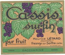 Etiquette - Cassis Surfin Létard - Fresnay Sur Sarthe - Labels