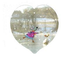 Cpm Forme De Cœur - Illustration - Souris Patineuse Patin à Glace Oiseau Neige - Christine Donnier - Illustrateurs & Photographes