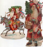 2 Père Noêl En Découpis, Un De 16 Cm De Haut, L'autre Sur Son Ane 12 Cm - Motiv 'Weihnachten'
