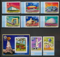 Ajman - 2714/ N° 577/584 A + 196 A Expo 70 Japon Japan Exposition Universelle Osake 1970 ** MNH - Ajman