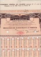 Th4  GOUVERNEMENT : ALGERIE - Obligation De 10000 Frs1942     (24) - Shareholdings