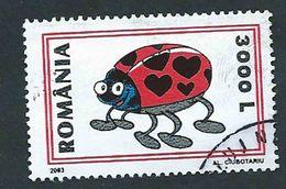 Romania 2003; Coccinella Innamorata, Greeting Stamp Love Ladybird. Used - Insetti