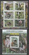 TANZANIA  ,2013, MNH, MONKEYS, COLOBUS MONKEYS, SHEETLET +S/SHEET - Mono