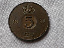 Suede 5 Ore 1954    Bronze -   Km#822  TTB - Danemark