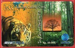 Indonesia Telkom TeCC Telkom Calling Card Say Save The Earth Mint - Jungle