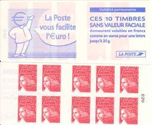 FRANCE - BOOKLET / CARNET, Yvert 3419-c2 - 2001 - Marianne Du 14 Juillet, 10x TVP Red, With Red Registerline - Standaardgebruik