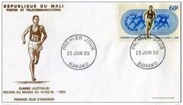 """MALI - 23 6 1969 OLIMPIONICI RECORD DEL MONDO  """"CLARKE 10000 M"""" - Mali (1959-...)"""