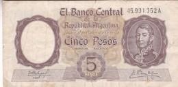 5 PESOS REPUBLICA ARGENTINA SAN MARTIN BANCO CENTRAL SERIE A CIRCA 1958- BLEUP. - Argentinië