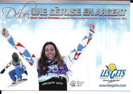 SNOWBOARD - DEBORAH ANTHONIOZ - JEUX OLYMPIQUES HIVER VANCOUVER - OLYMPICS WINTER GAMES - LES GETS - Sports D'hiver