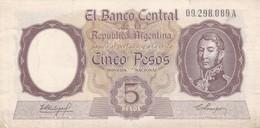 5 PESOS REPUBLICA ARGENTINA SAN MARTIN BANCO CENTRAL CIRCA 1958 SERIE A- BLEUP. - Argentinië