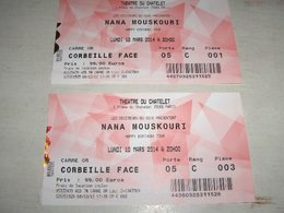 4 Concert Tickets Athens 2008, Berlin 2011 & Paris 2014, Nana MOUSKOURI - Tickets De Concerts
