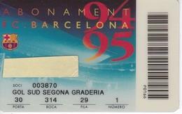 CARNET DE SOCIO DE FUTBOL CLUB BARCELONA TEMPORADA 1994/95 GOL SUD (FOOTBALL) BARÇA-BANCA CATALANA - Fútbol