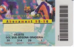 CARNET DE SOCIO DE FUTBOL CLUB BARCELONA TEMPORADA 1995/96 GOL SUD (FOOTBALL) BARÇA - LA CAIXA - Fútbol