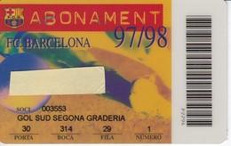CARNET DE SOCIO DE FUTBOL CLUB BARCELONA TEMPORADA 1997/98 GOL SUD (FOOTBALL) BARÇA - LA CAIXA - Fútbol