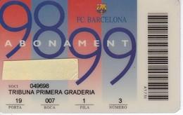 CARNET DE SOCIO DE FUTBOL CLUB BARCELONA TEMPORADA 1998/99 TRIBUNA (FOOTBALL) BARÇA - LA CAIXA - Fútbol
