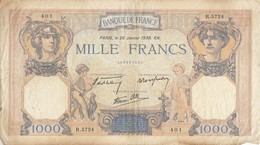 Billet 1000 F Cérès Et Mercure Du 26-1-1939 FAY 38.33 Alph. R.5724 - 1871-1952 Circulated During XXth