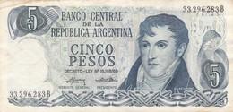 5 PESOS GRAL BELGRANO REPUBLICA ARGENTINA SERIE B CIRCA 1970- BLEUP. - Argentina