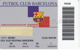 CARNET DE SOCIO DE FUTBOL CLUB BARCELONA TEMPORADA 2000/01 GOL SUD (FOOTBALL) BARÇA - LA CAIXA - Sin Clasificación