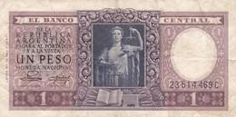 1 PESO MONEDA NACIONAL REPUBLICA ARGENTINA SERIE A,B O C CIRCA 1954- BLEUP. - Argentinië