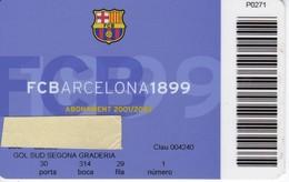 CARNET DE SOCIO DE FUTBOL CLUB BARCELONA TEMPORADA 2001/02 GOL SUD (FOOTBALL) BARÇA - LA CAIXA - Sin Clasificación