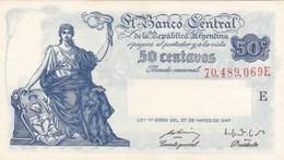 50 CENTAVOS MONEDA NACIONAL REPUBLICA ARGENTINA SERIE E CIRCA 1937- BLEUP. - Argentina
