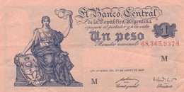 UN PESO MONEDA NACIONAL REPUBLICA ARGENTINA SERIE L O M CIRCA 1937- BLEUP. - Argentinië