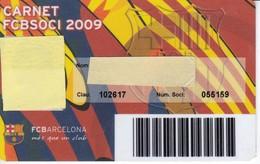 CARNET DE SOCIO DE FUTBOL CLUB BARCELONA TEMPORADA 2009 SENIOR - BARÇA (CAIXA-NIKE-AUDI - Fútbol
