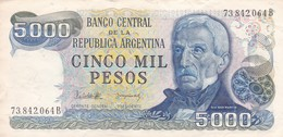 CINCO MIL PESOS GENERAL SAN MARTIN REPUBLICA ARGENTINA SERIE B CIRCA 1977- BLEUP. - Argentinië