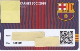 CARNET DE SOCIO DE FUTBOL CLUB BARCELONA TEMPORADA 2018 ADULT - BARÇA (CAIXA-NIKE-AUDI- - Sin Clasificación