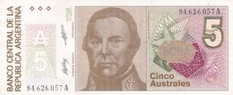 5 AUSTRALES JUSTO JOSE DE URQUIZA REPUBLICA ARGENTINA SERIE A CIRCA 1985- BLEUP. - Argentina