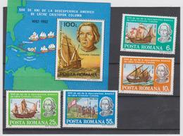 ROUMANIE 4 T Et 1 Bloc Feuillet Xx  - 1992  - 500 Ans Découverte Amérique Christophe Colomb Bateaux - 1948-.... Republics