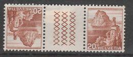 SVIZZERA 1948 - Vedute 20+20 Unif. S59 Coppia Tete-beche Con Interspazio Serie Cpl. 2v. Nuovi* - Kehrdrucke